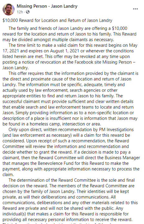 Jason Landry's family offers reward in return for information about his disappearance (via Facebook)