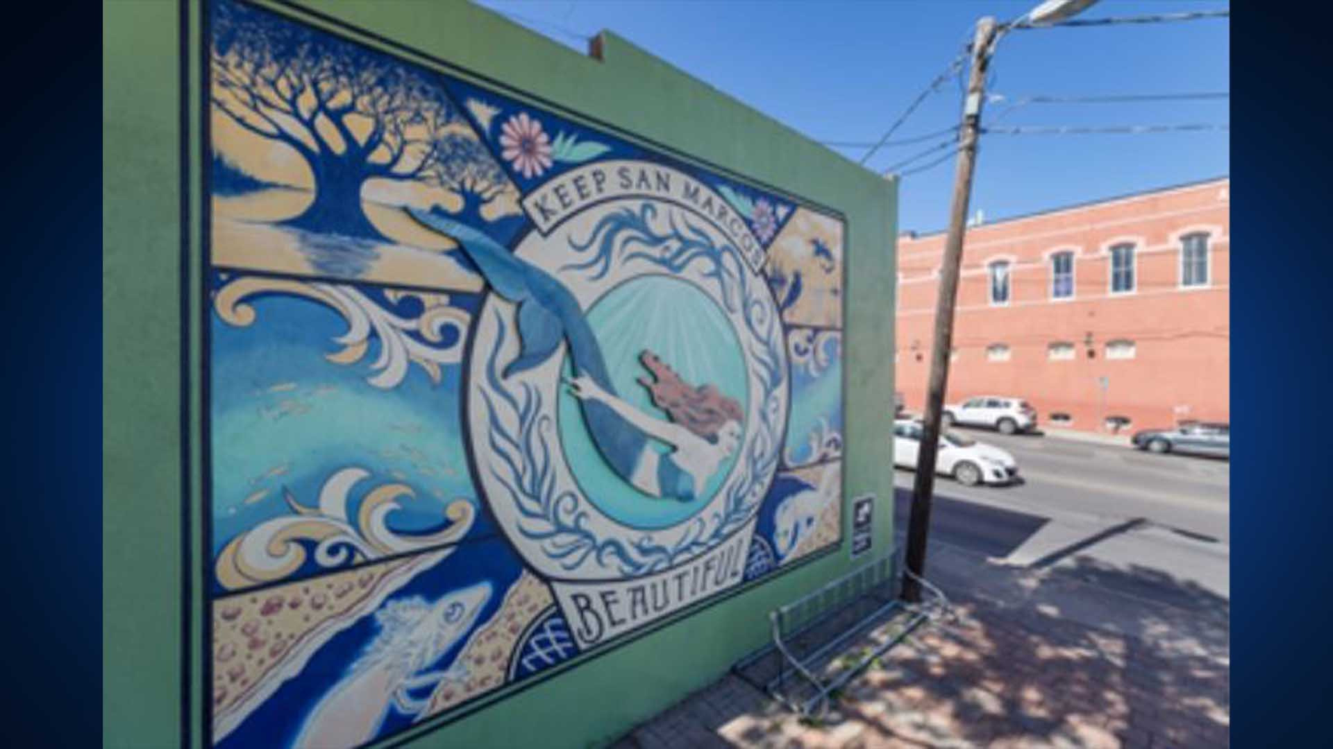 Mural featuring mermaid and the San Marcos River on the back of the Root Cellar Bakery and Catering Center (City of San Marcos Photo)