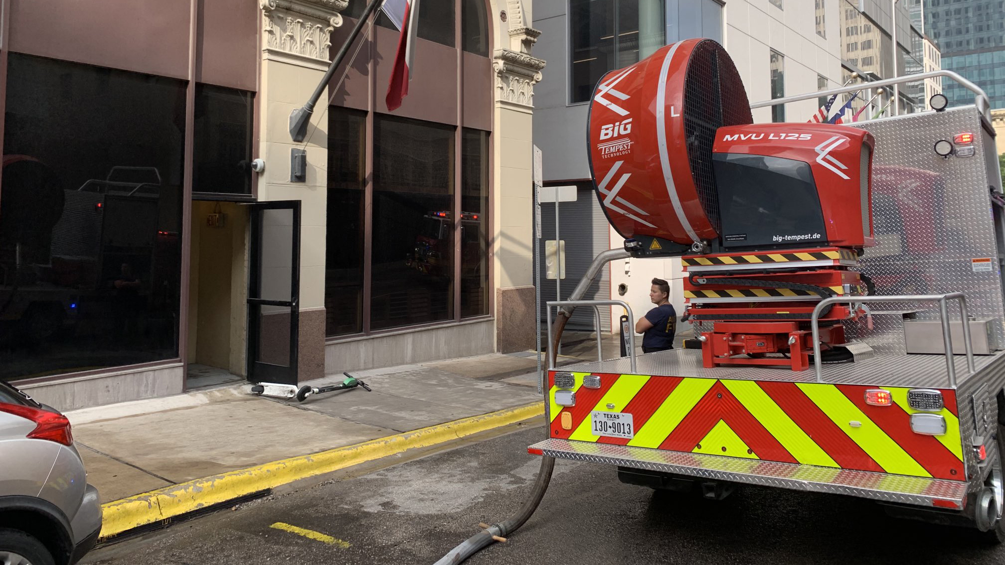 """The """"Smoke Buster"""" is a mobile ventilation unit that pulls smoke out of building in an effort to mitigate smoke damage, and AFD used it Monday morning for a fire that broke out at the Driskill hotel. (Photo courtesy of AFD)"""