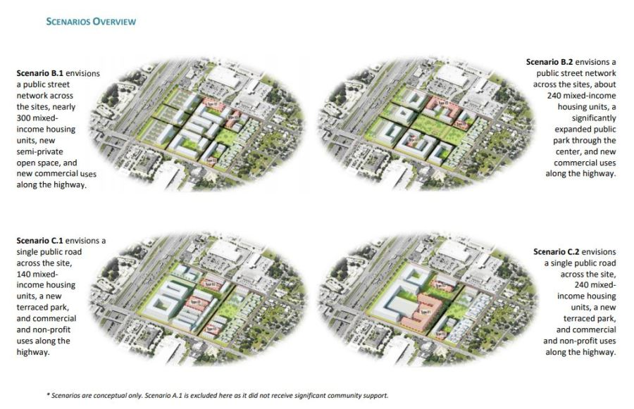 Mock-up of plans for the city-owned property at St. John's and Interstate 35. (Image from city documents)