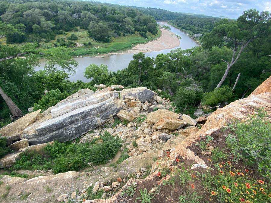 A collapsed rock wall at Reimer's Ranch (KXAN Photo/Kaitlyn Karmout)