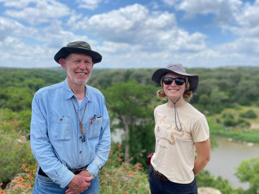 Geologist Charles Woodruff and Mariel Nelson are studying rock falls in the Hill Country (KXAN Photo/Kaitlyn Karmout)