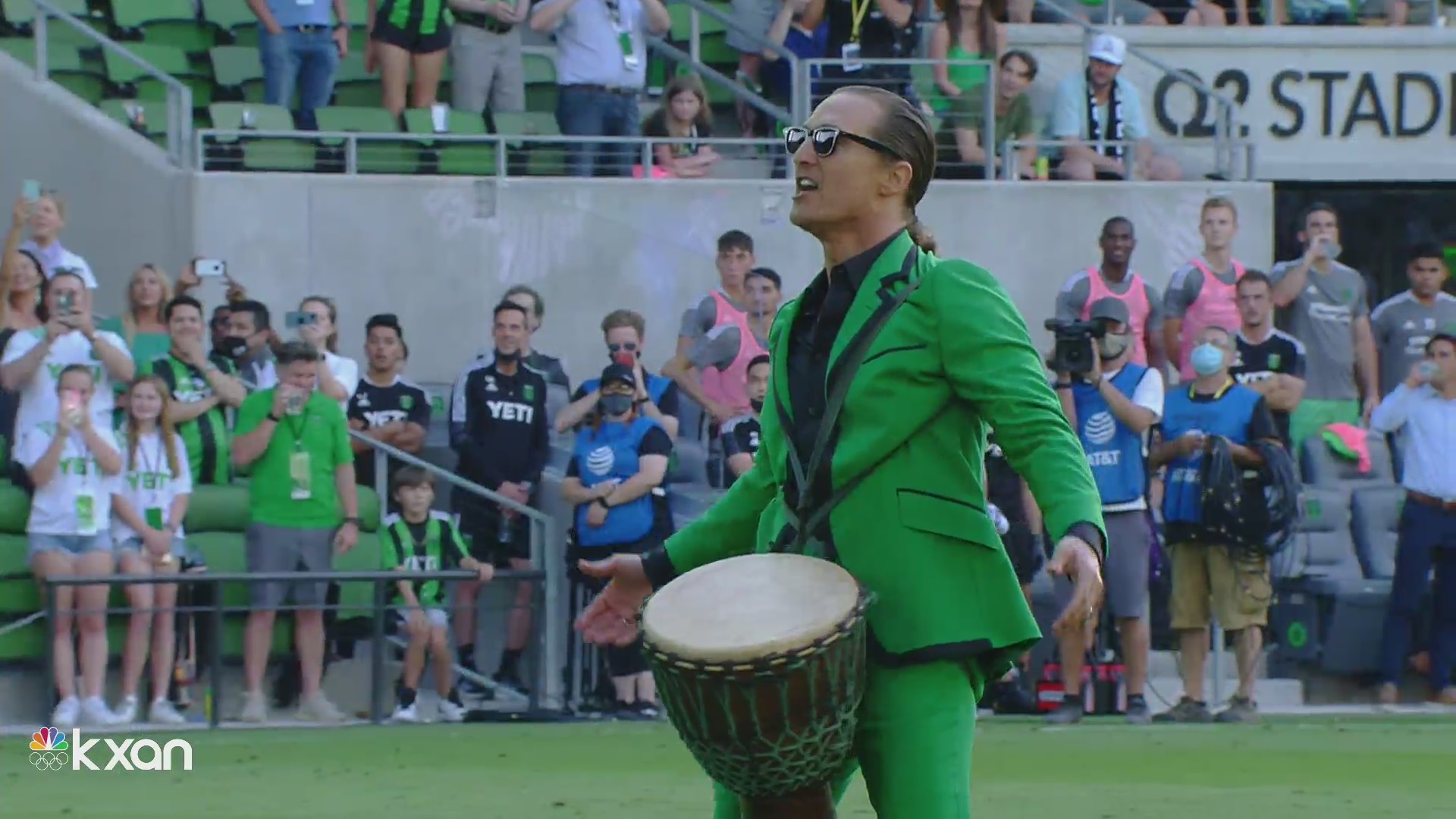 Matthew McConaughey led the crowd in chants before kickoff at Austin FC's home opener (KXAN Photo)