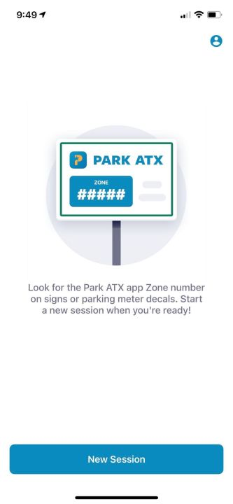 This is a screenshot of what the Park ATX app looks like when you first open it.