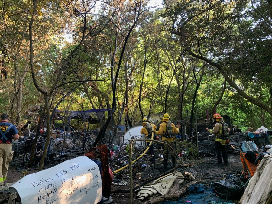 """Tents and """"makeshift living structures"""" caught fire off US 183 near Pecan Park Boulevard Friday evening (Austin Fire Photo)"""
