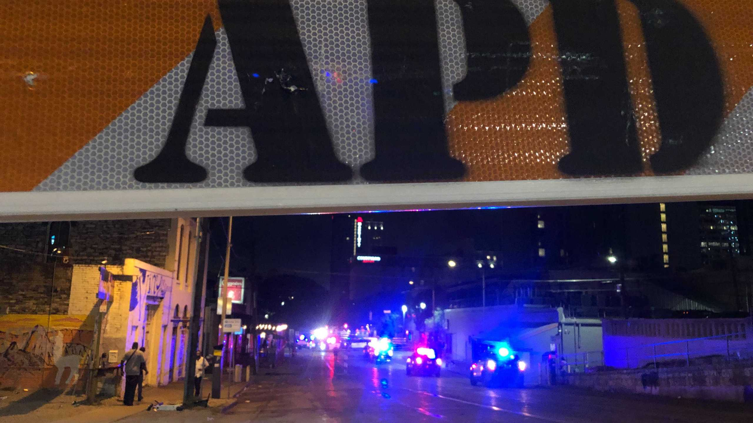 Police said a mass shooting on E. 6th Street injured at least 13 people. (KXAN photo/Frank Martinez)