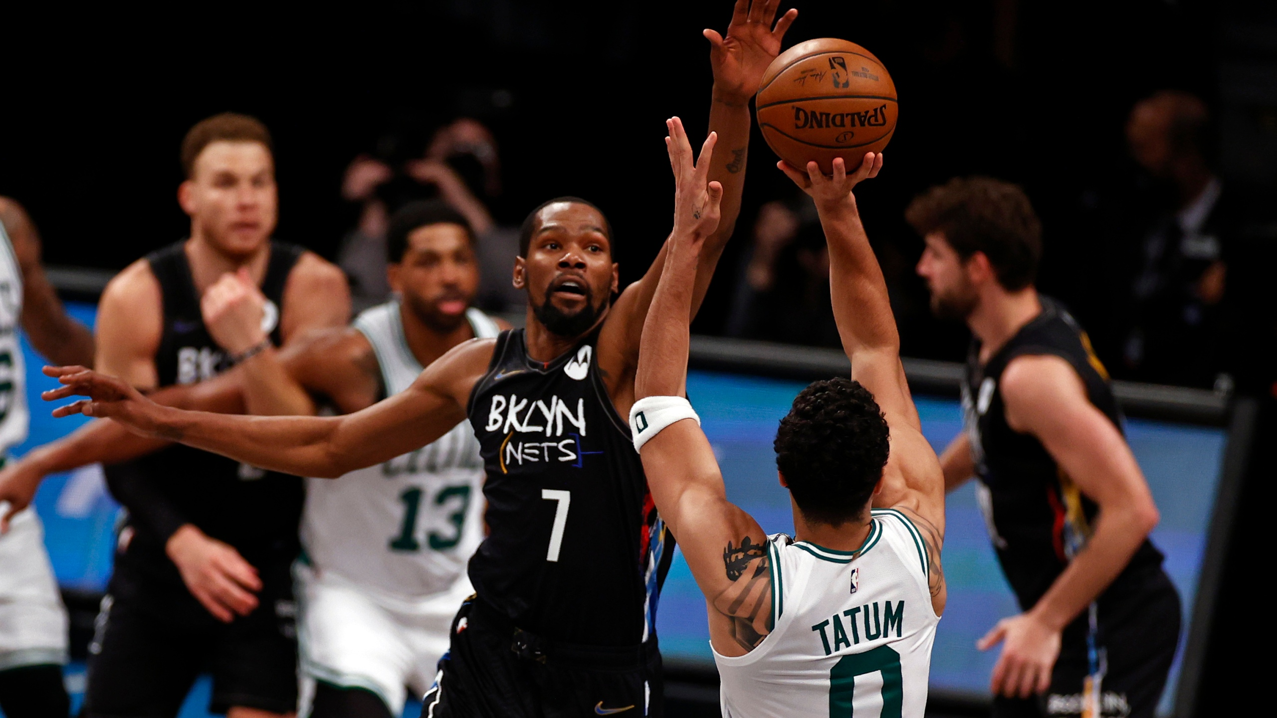 Durant's superstar Nets head to second round with win over Celtics