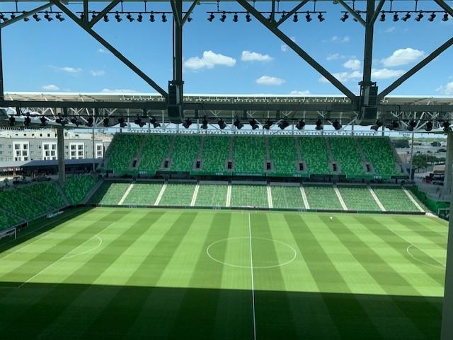 Birdseye view of Q2 Stadium Austin FC