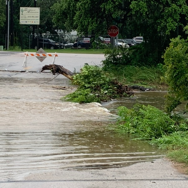 A downed tree in a flooded low water crossing off Highway 290 in South Austin (KXAN Photo/Avery Travis)