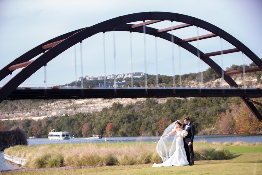 Britt and her husband Jordan posed for wedding photos with the 360 Bridge in the background (Courtesy Britt Moreno)