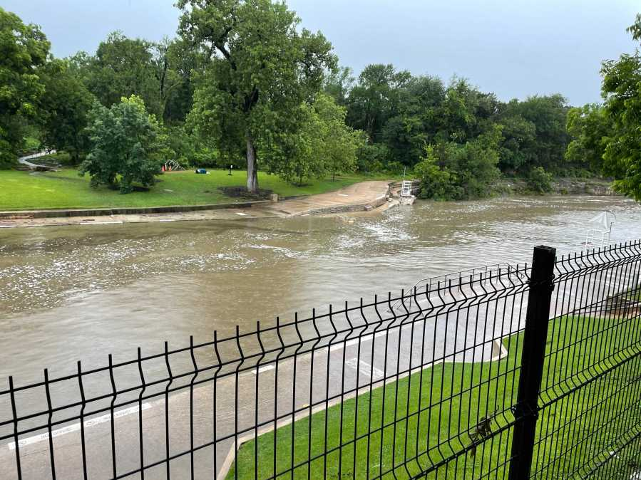 Barton Springs Pool is temporarily shut down due to flooding, according to the city. (KXAN Photo/Tim Holcomb)