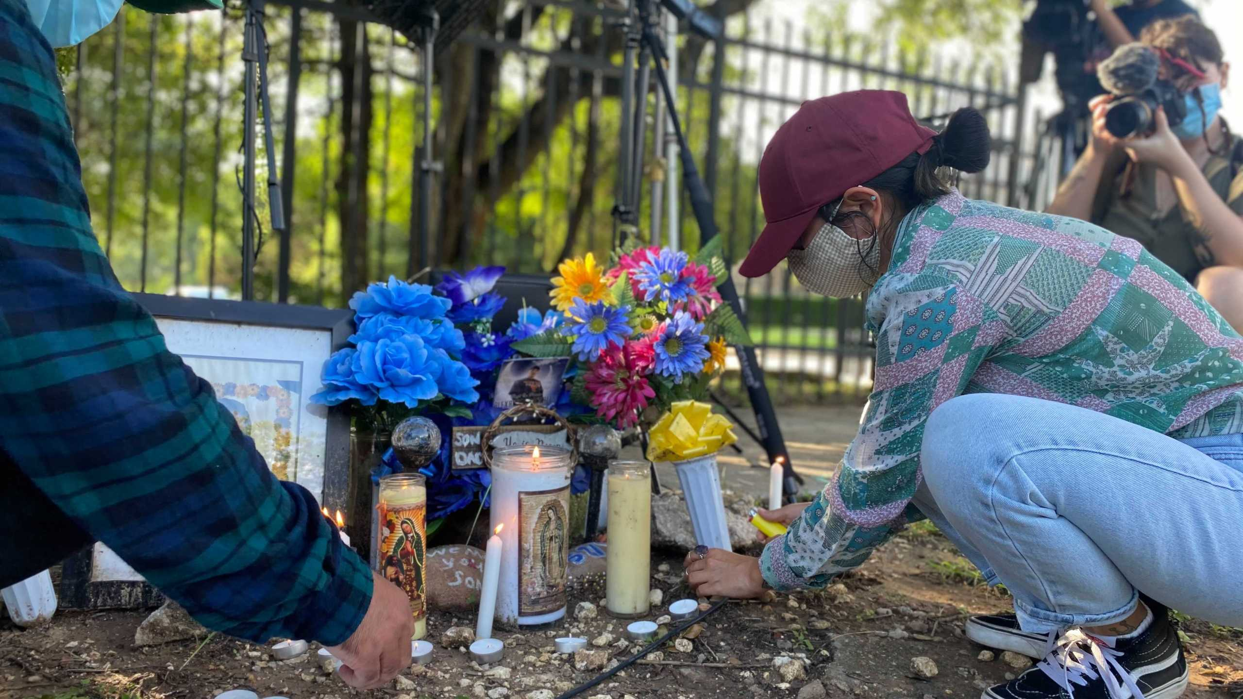 Memorial being set up for Alex Gonzales at rally off Wickersham Lane June 5, 2021 (KXAN Photo/Kaitlyn Karmout)