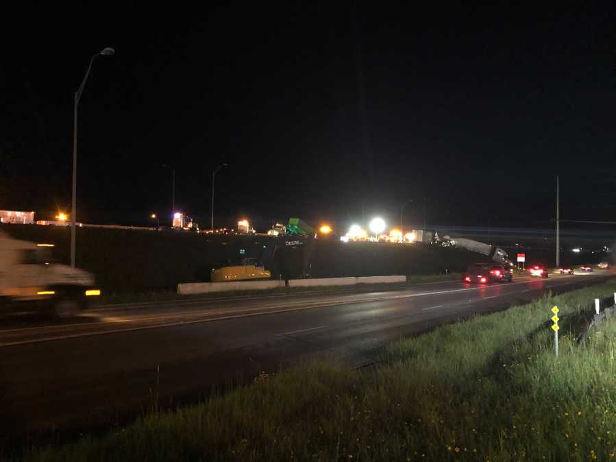 Two 18-wheelers crashed on I-35 near Highway 29 in Georgetown and the northbound lanes will be closed until at least 9 a.m., TxDOT says. (KXAN photo/Julie Karam)