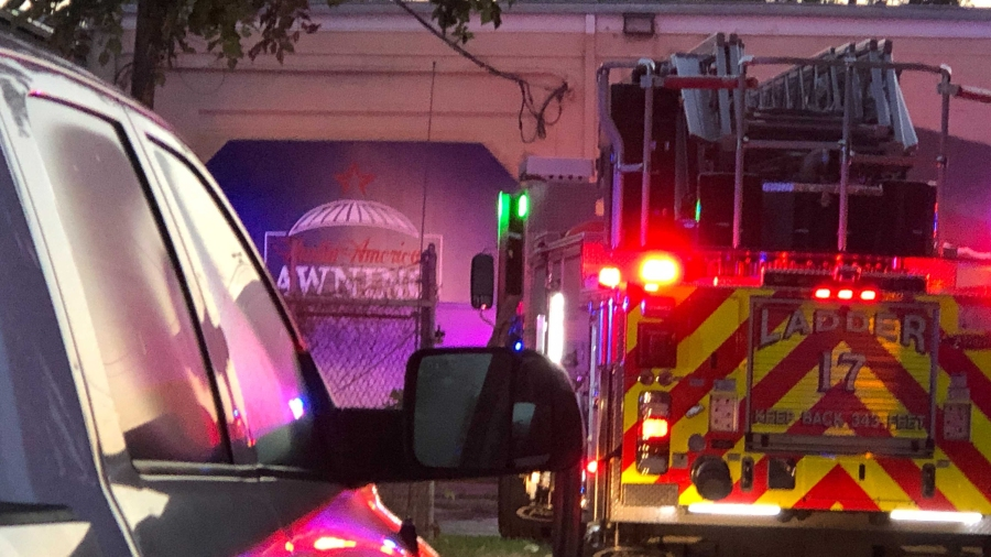 AFD says there's an arson investigator on scene after a fire in an industrial area on St. Elmo Road on Thursday (KXAN photo/Julie Karam)