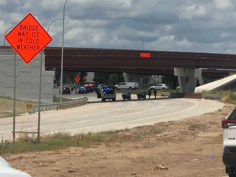 A pedestrian was hit and killed on Ben White Boulevard on Tuesday in southeast Austin. Traffic was delayed while crews responded to the scene. (KXAN photo/Chris Nelson)