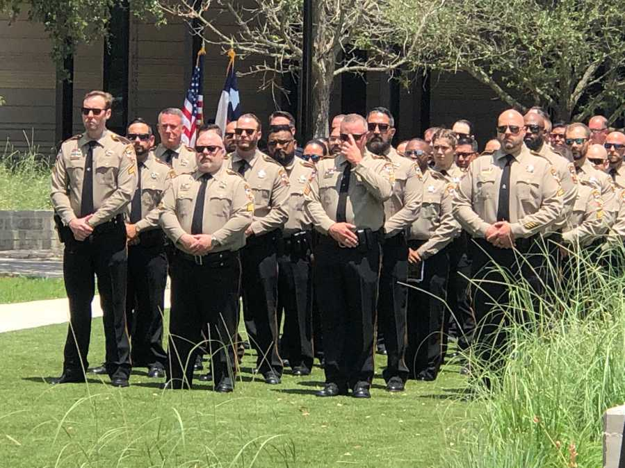 Funeral for Travis County Senior Deputy Christopher Korzilius, who was killed in a car crash in March 2020 (KXAN Photo/Frank Martinez)