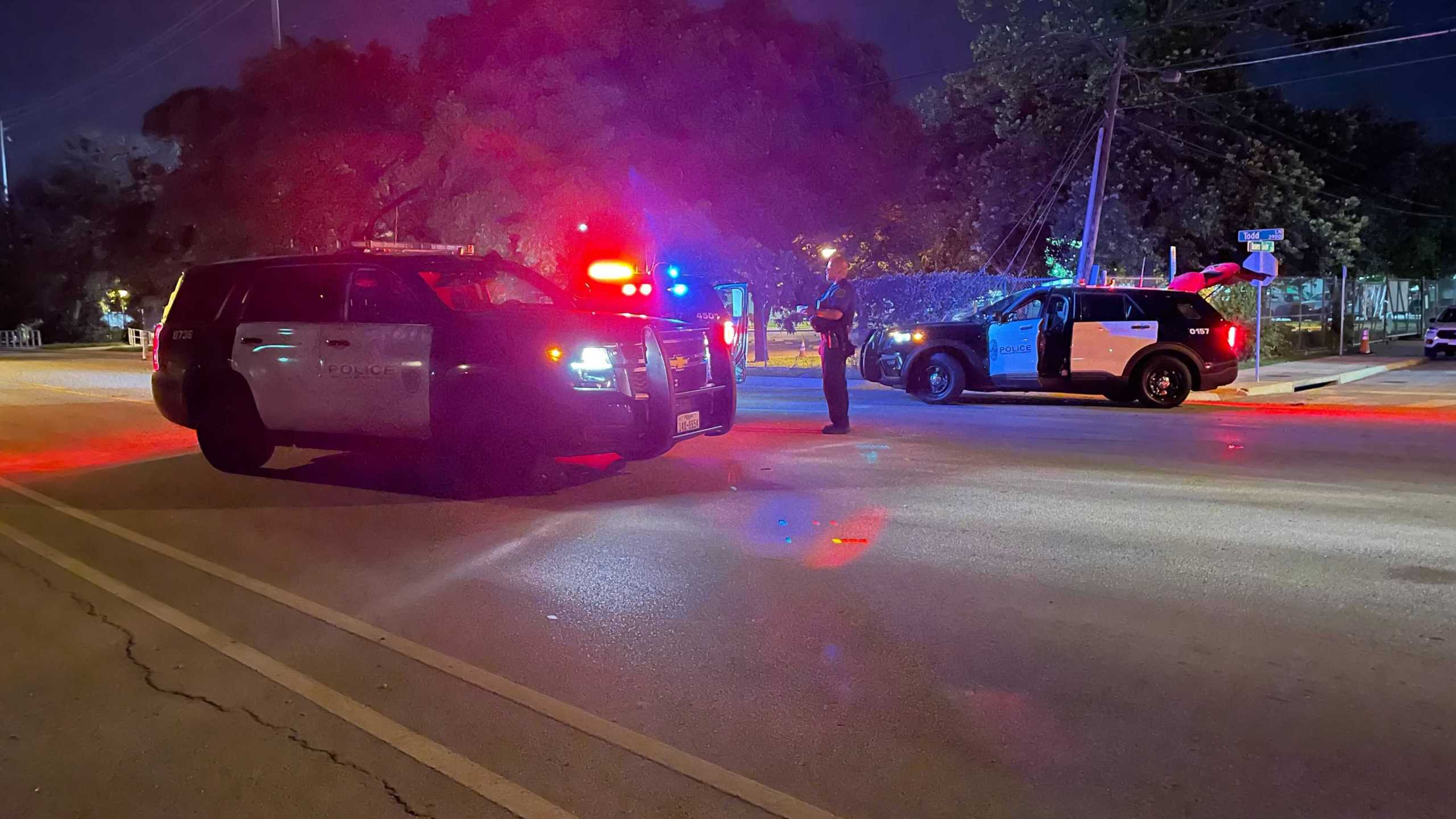 One person is dead and another is hurt after a shooting off Todd Lane in southeast Austin Friday night (KXAN Photo/Tim Holcomb)