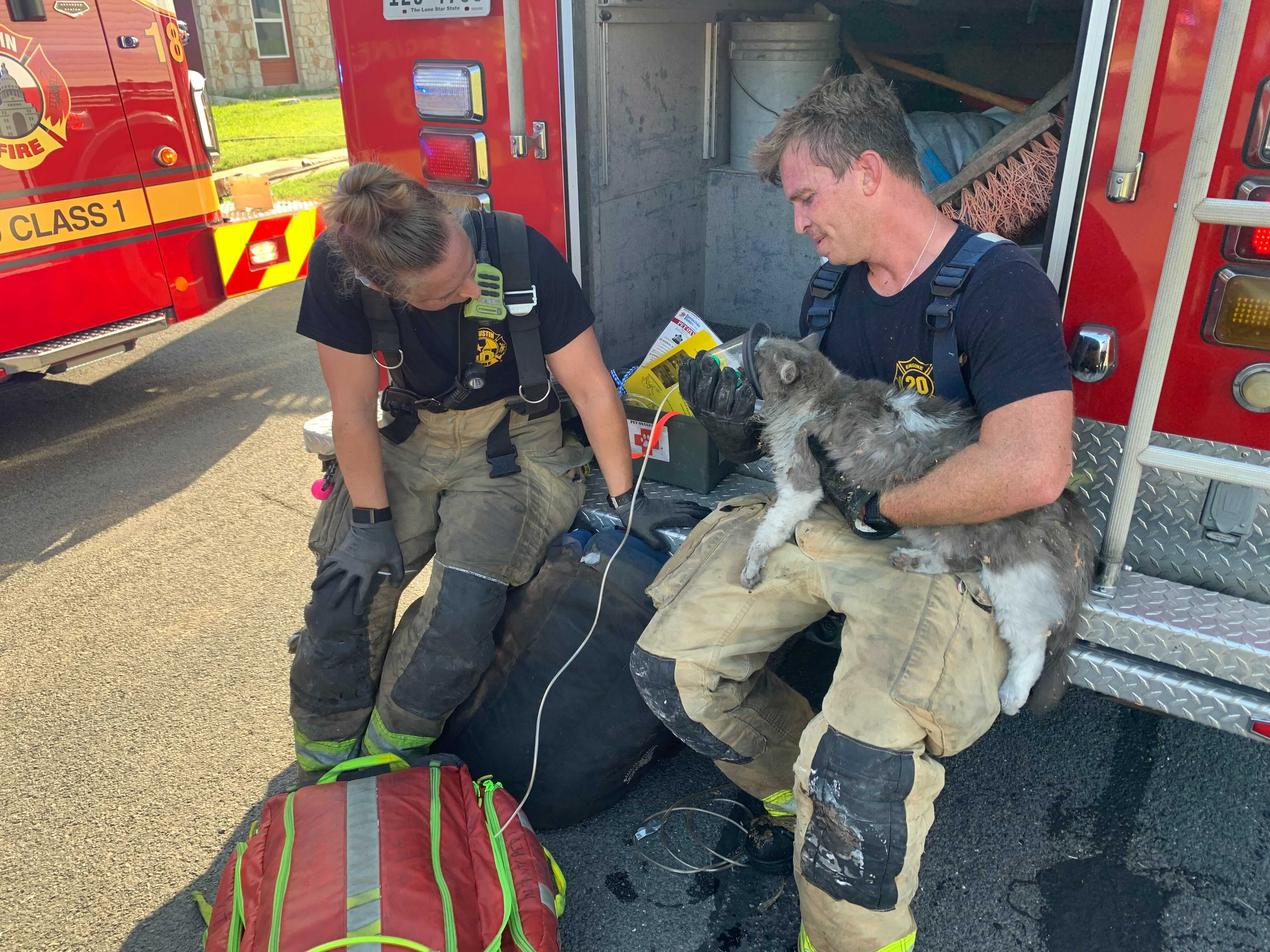 Austin Fire crews rescued one dog and one cat from a house fire in east Austin June 23, 2021 (AFD Photo)