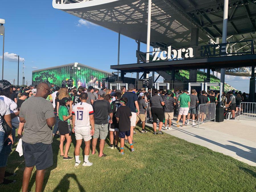 Austin FC fans line up to get into Q2 Stadium (KXAN Photo/Ricky Garcia)