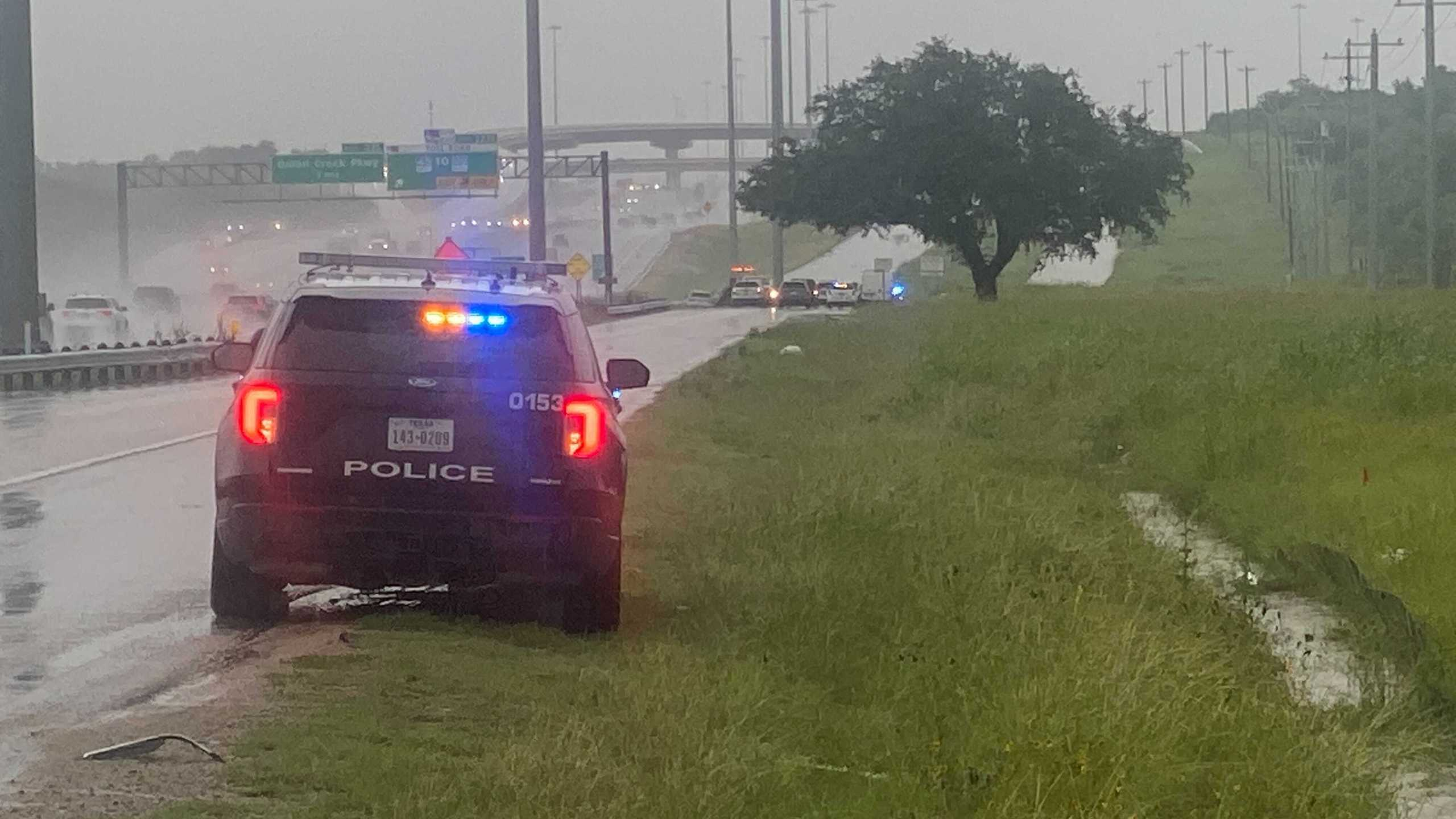A person died after a car hit them on the I-35 frontage road Thursday morning in south Austin (KXAN Photo/Todd Bynum)