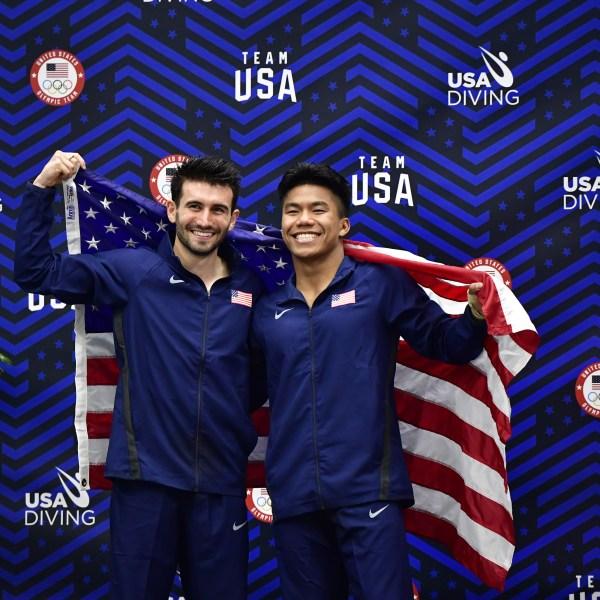 Jordan Windle with Brandon Loschiavo 10-meter awards