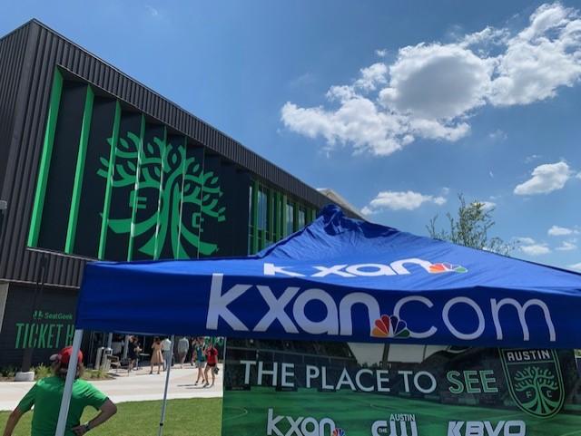 KXAN tent at Q2 Stadium