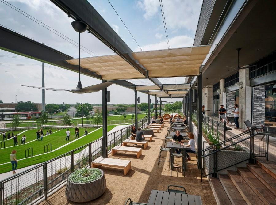 Q2 Stadium club patio. (Courtesy of Gensler)