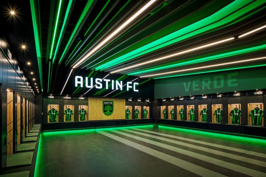 Q2 Stadium locker room. (Courtesy of Gensler)