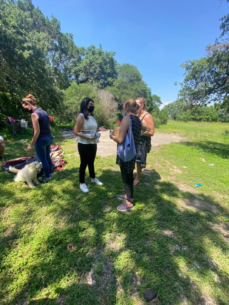 District 2 City Council Member Vanessa Fuentes meets with residents from the Park Ridge neighborhood in south Austin to hear their concerns about possibly city-sanctioned homeless encampments moving nearby. (KXAN Photo)