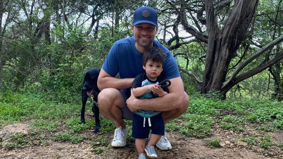 Britt Moreno snapped this picture of her husband Jordan, son Weston and Labrador Retriever on the Greenbelt (Courtesy Britt Moreno)