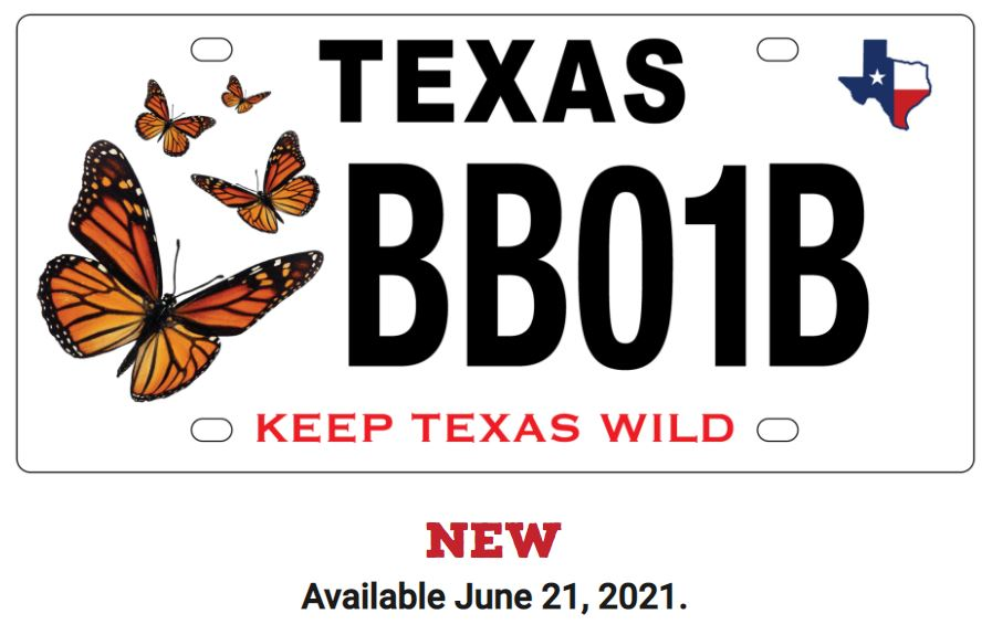 Monarch Butterfly conservation license plate (via https://conservationplate.org/)