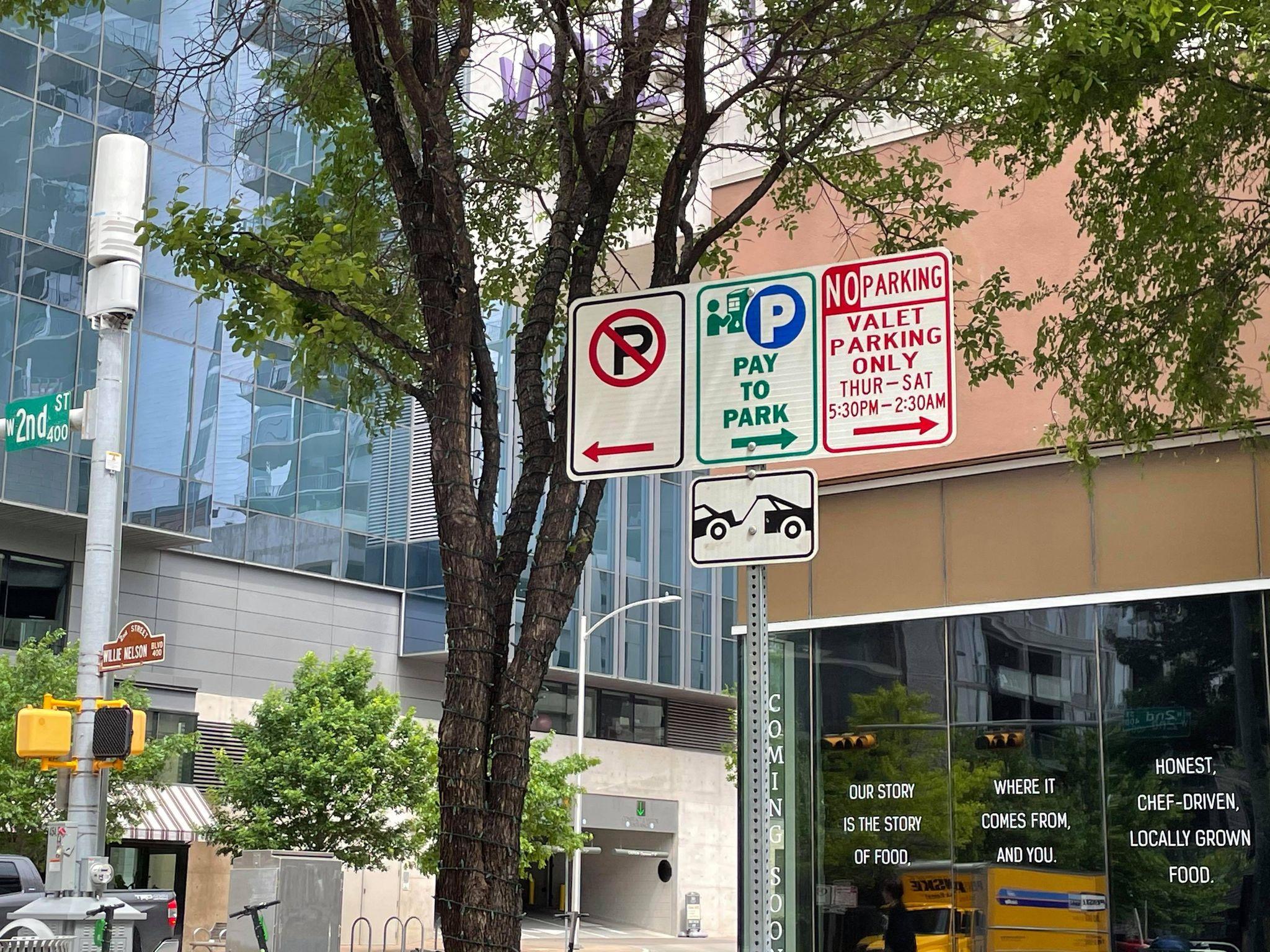 Parking sign in downtown Austin (KXAN Photo/Jaclyn Ramkissoon)