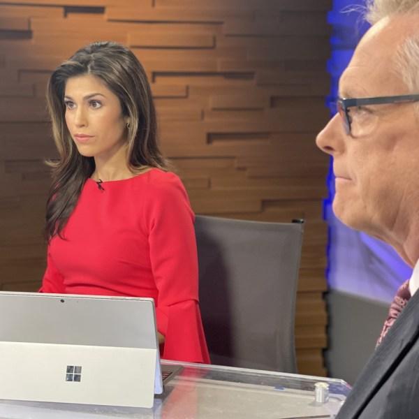 Britt Moreno debuts as KXAN's evening anchor June 10, 2021 with co-anchor Robert Hadlock (KXAN Photo/Josh Hinkle)