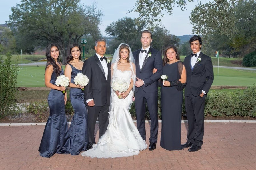 Britt Moreno poses with her husband, parents and siblings at her wedding (Courtesy Britt Moreno)