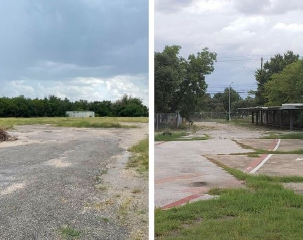 Two of the potential sites the City of Austin has decided on to host sanctioned homeless encampments. LEFT: 4011 Convict Hill Road, RIGHT: 3511 Manor Road (City of Austin Photo)
