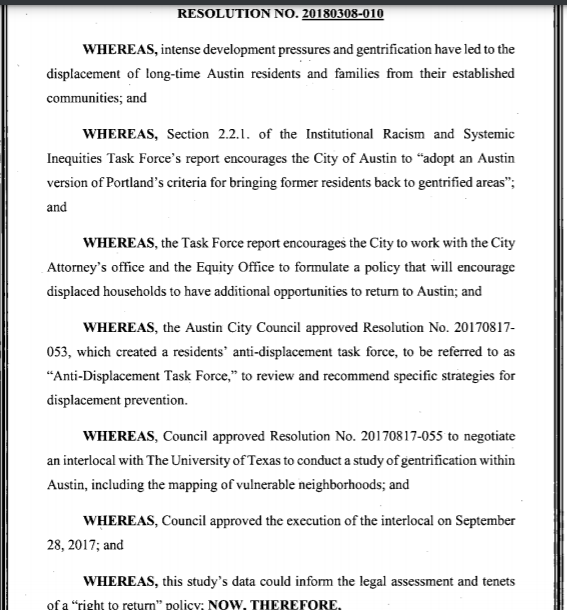 Austin City Council's 2018 esolution on displacement