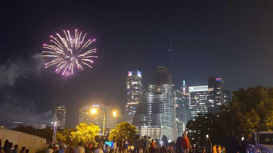 Downtown Austin fireworks show 7-4-21