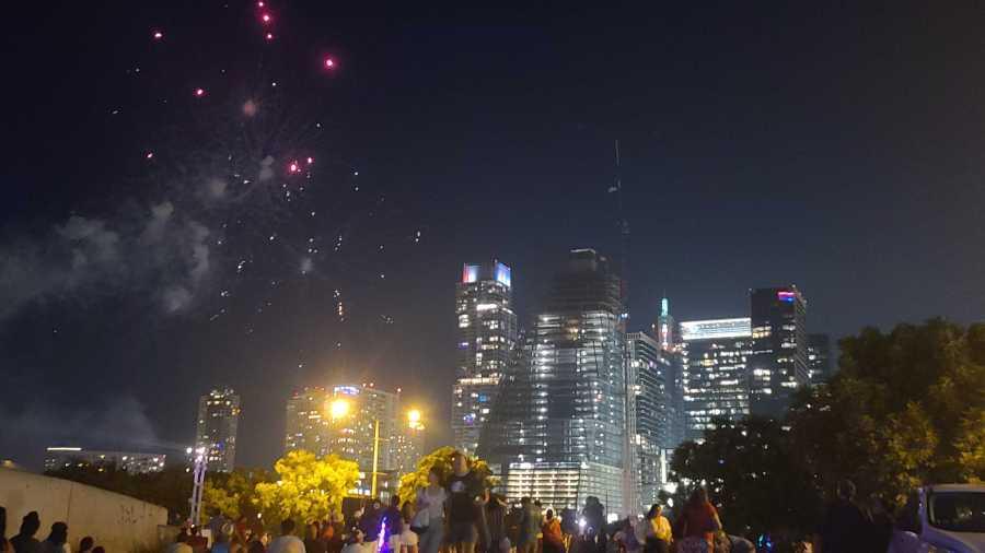 Downtown Austin fireworks 7-4-21