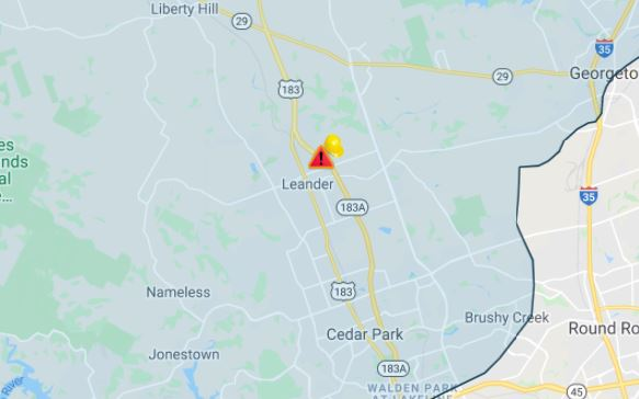 Pedernales Electric Cooperative map showing power outage in Leander