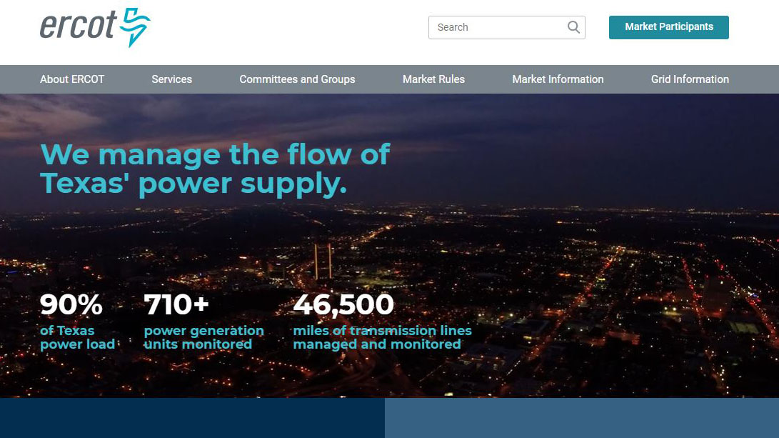 ERCOT made improvements to its website to ensure clear communication with Texans (Screenshot of ERCOT.com)