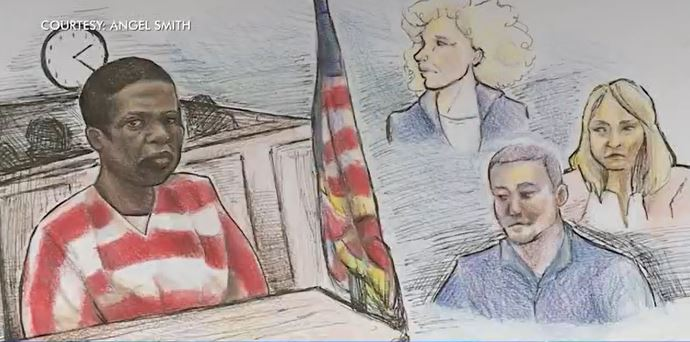Sketch from the courtroom depicts Rodney Reed in his appeal hearing, along with several witnesses from Jimmy Fennell's family and Stacey Stites' sister Debra. (Courtesy: Angel Smith)