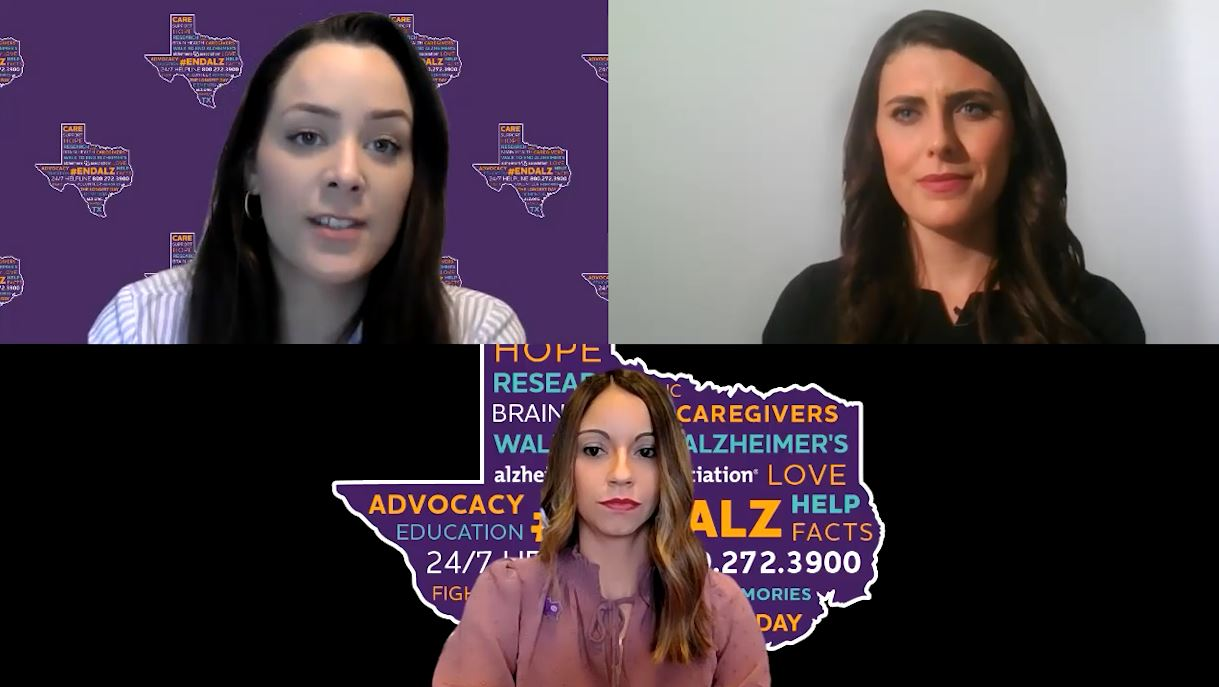 KXAN investigator Avery Travis speaks with two advocates from the Alzheimer's Association. (KXAN Photo)