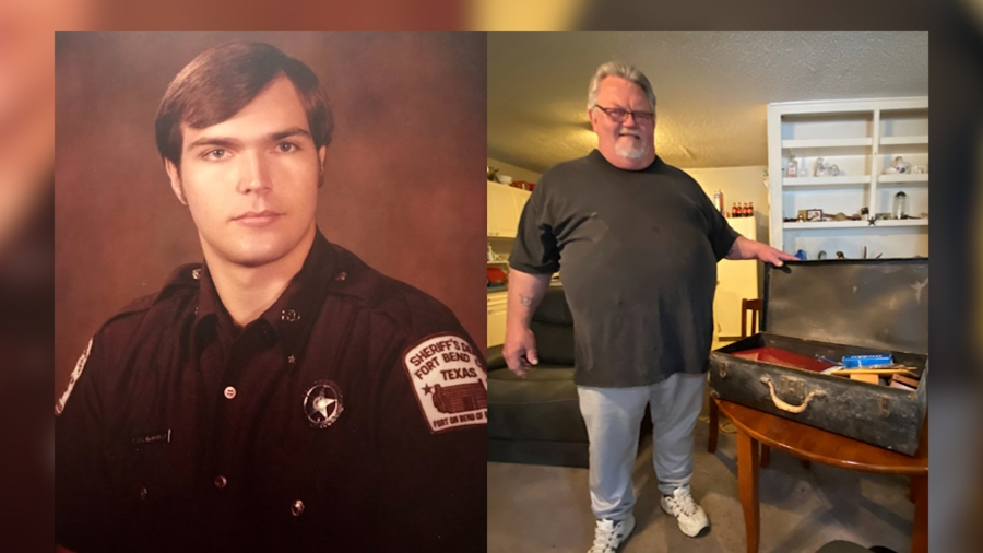 Photo of man who found badge, and original badge owner