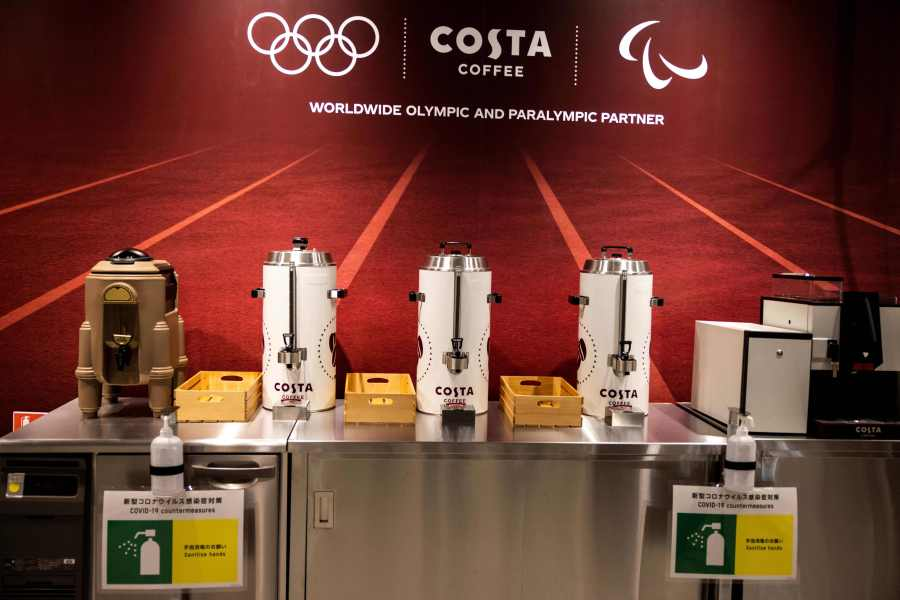 A view of coffee makers at the main dining hall of the Olympic Village during a media tour of the Tokyo 2020 Olympic and Paralympic Village in Tokyo on June 20, 2021. (Photo by Behrouz MEHRI / AFP) (Photo by BEHROUZ MEHRI/AFP via Getty Images)