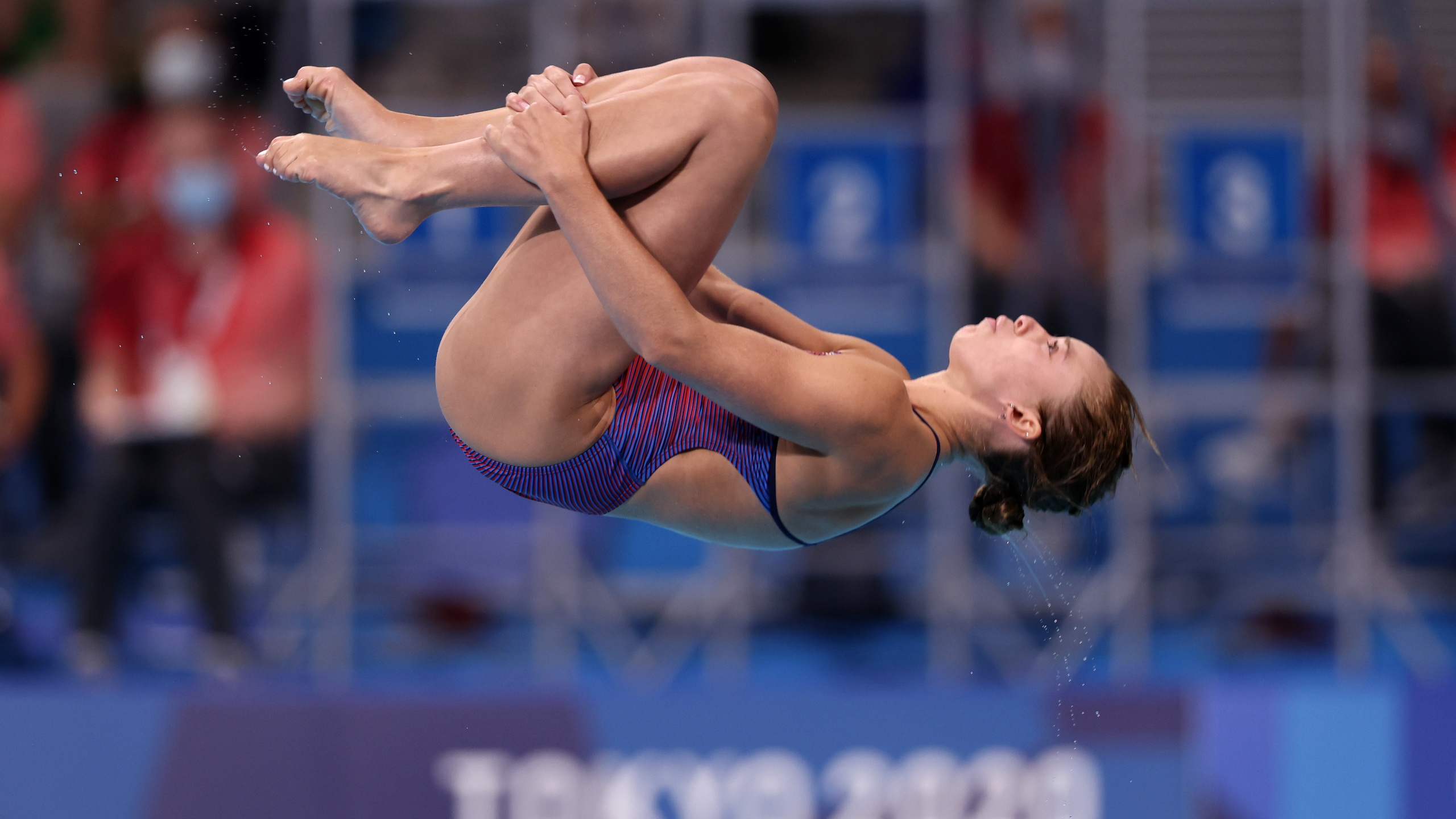 TOKYO, JAPAN - JULY 30: Hailey Hernandez of Team United States competes during the Women's 3m Springboard Preliminary round on day seven of the Tokyo 2020 Olympic Games at Tokyo Aquatics Centre on July 30, 2021 in Tokyo, Japan. (Photo by Tom Pennington/Getty Images)