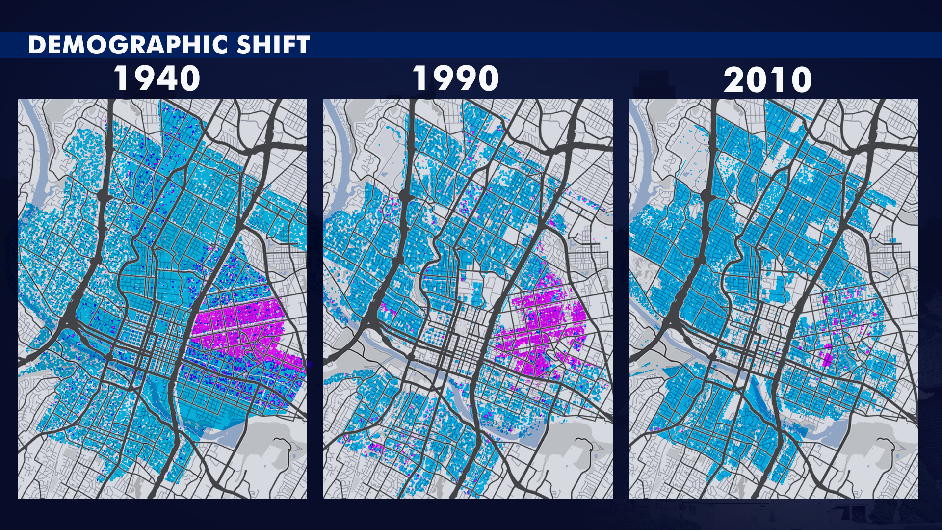 These maps provided by the City of Austin show a demographic shift in Austin. The purple dots represent the Black population. By 2010, the city says many Black Austinites left the city.