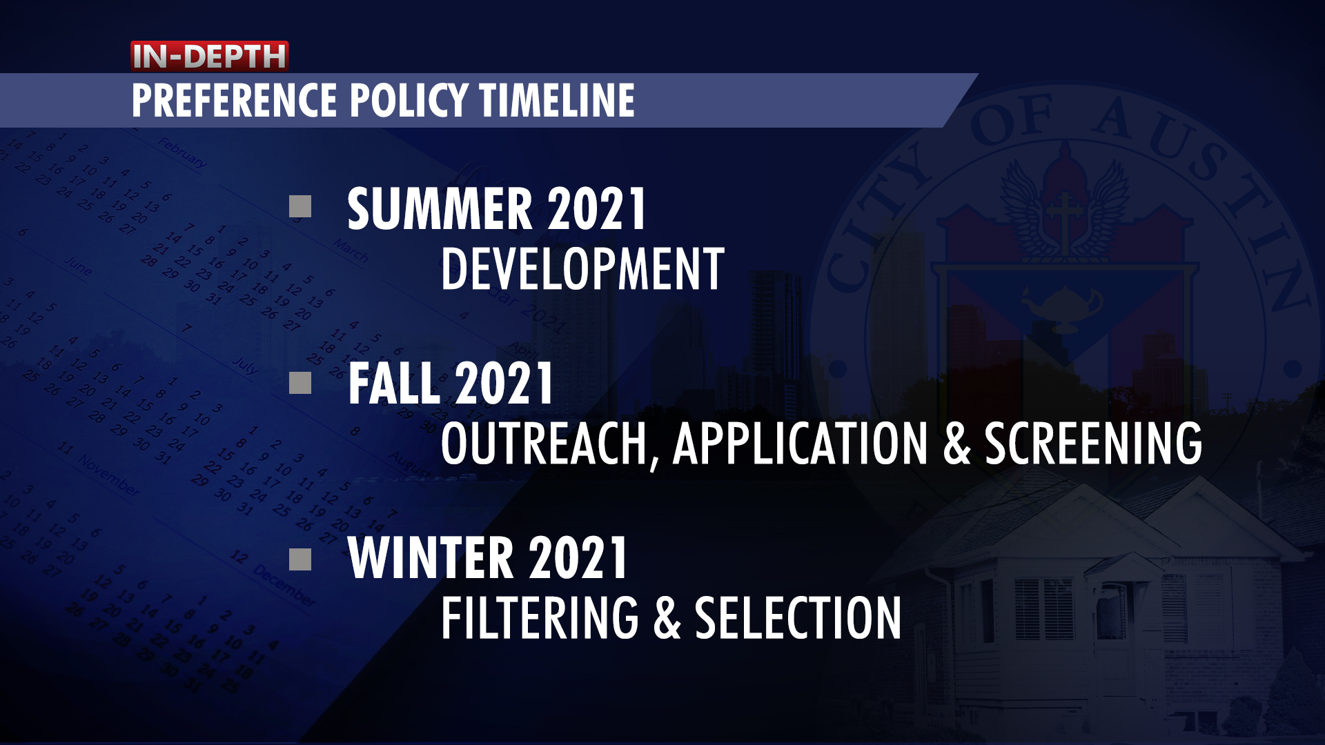 A graphic showing the timeline for the preference policy. Development happens in summer 2021. Outreach, application and screening is in Fall 2021. Filtering and selection happens in winter 2021