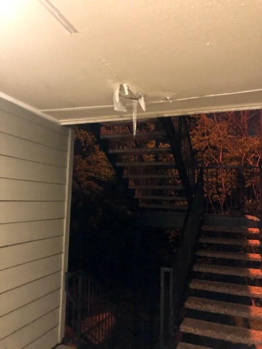 Photo showing ceiling damage, apparently after water damage (Courtesy Denise Mahoney)
