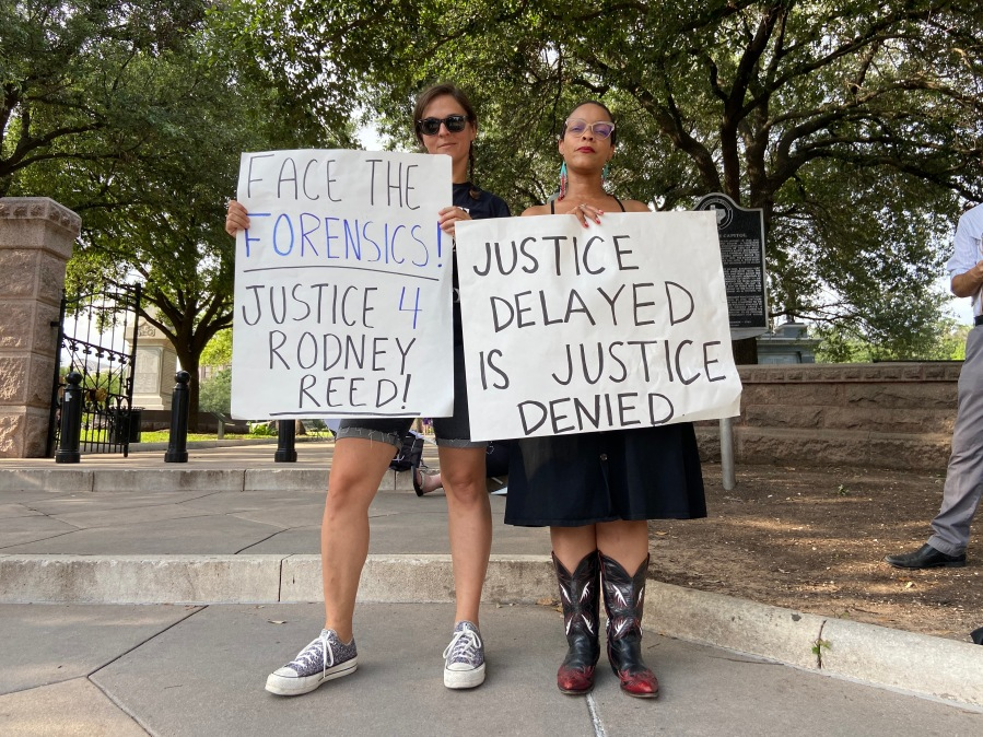 Family and advocates for Rodney Reed gathered at the Texas Capitol Saturday evening to demand justice (KXAN Photo/Clare O'Connor)