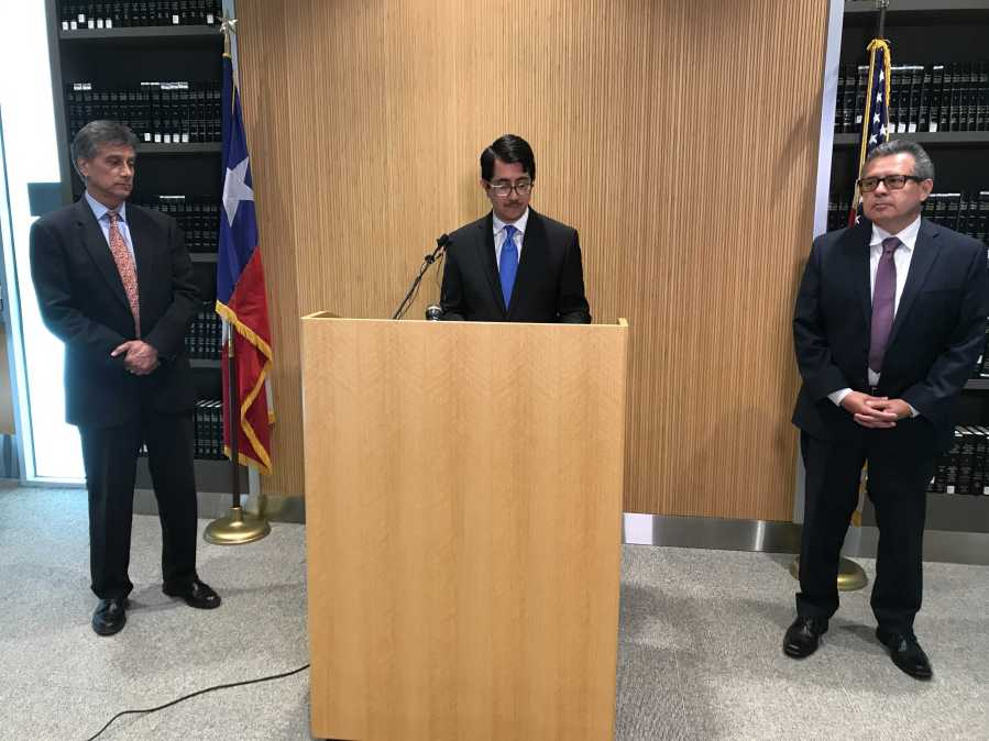 Travis County DA José Garza discusses the charges against Daniel Perry in the death of Garrett Foster, an Austin protester who died in a shooting in July 2020. (KXAN Photo/Ed Zavala)